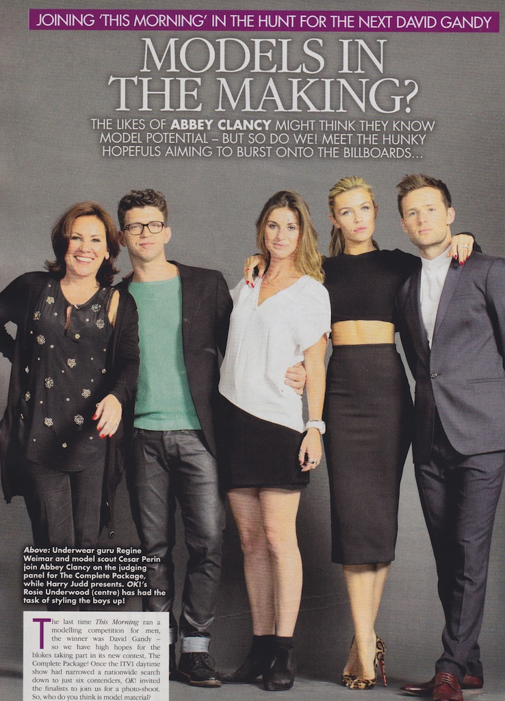 Ok Magazine - The Complete Package judges, Regine Waimar, Cesar Perin, Abbey Clancy and Harry Judd